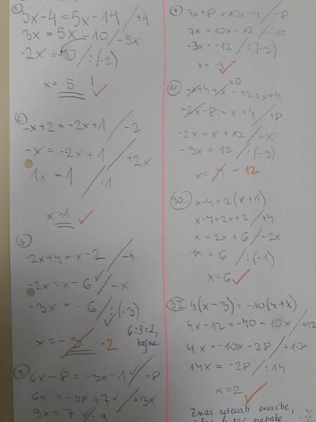 različne ravni znanja enačb